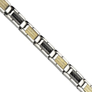 Versil Men's Stainless Steel Black IP-plated Wire and 14k 8.5-inch Bracelet