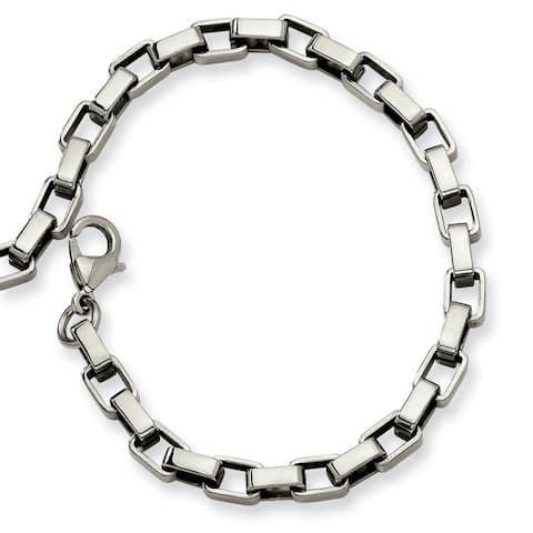 Men's Chisel Stainless Steel Polished Link 8 Inch Fancy Lobster Bracelet