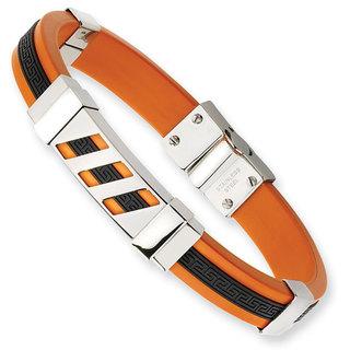 Versil Stainless Steel Black and Orange 8-inch Rubber Bracelet