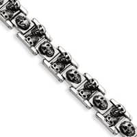 Versil Stainless Steel Skull 8.25-inch Bracelet