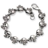 Versil Stainless Steel 8-inch Skull Bracelet