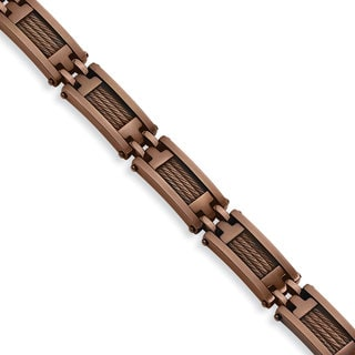 Versil Stainless Steel Brown IP-plated 9-inch Bracelet