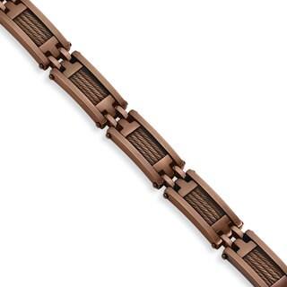 Versil Stainless Steel Brown IP-plated 9-inch Bracelet