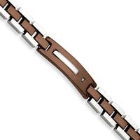 Versil Stainless Steel Diamond Brown IP-plated 8.5-inch Bracelet