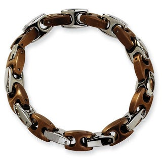 Versil Stainless Steel Brown IP-plated 8.25-inch Bracelet