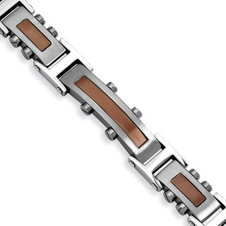 Versil Men's Brown Ion-plated Stainless Steel 8.5-inch Bracelet