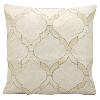 Mina Victory Natural Leather and Hide Lantern Design White Throw Pillow by Nourison (20-Inch X 20-Inch)