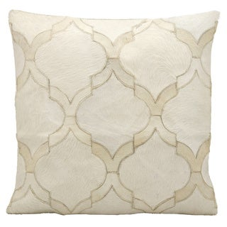 Mina Victory Natural Leather and Hide Lantern Design White Throw Pillow by Nourison (20 x 20-inch)