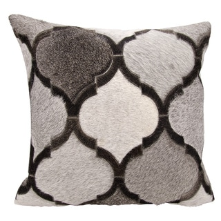 Mina Victory Natural Leather and Hide Lantern Design Silver/ Grey Throw Pillow by Nourison (20 x 20-inch)