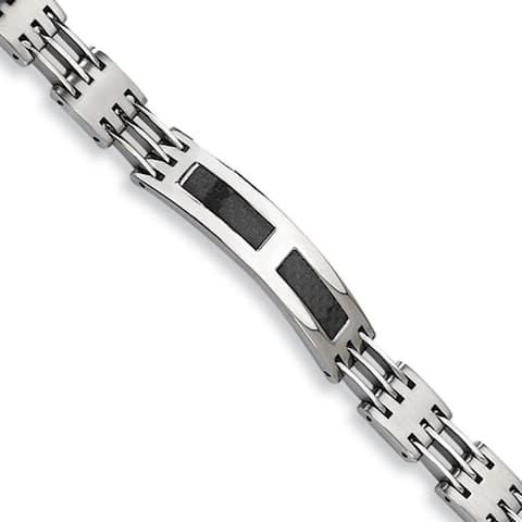 Chisel Stainless Steel/Black Carbon Fiber 8.5 Inch ID Bracelet