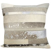 Mina Victory Natural Leather and Hide Mix Stripes Silver/ Grey Throw Pillow by Nourison (20-Inch X 20-Inch)
