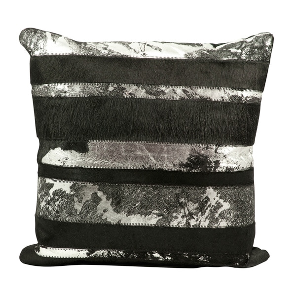 Mina Victory Natural Leather and Hide Mix Stripes Black Throw Pillow by Nourison (20 x 20-inch)