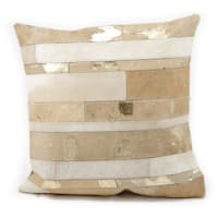 Mina Victory Natural Leather and Hide Mix Stripes Beige Throw Pillow by Nourison (20 x 20-inch)