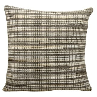 Mina Victory Natural Leather and Hide Thin Stripes Grey Throw Pillow by Nourison (20 x 20-inch)