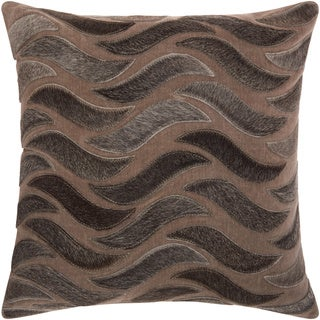 Mina Victory Natural Leather and Hide Animal Stripes Dark Grey Throw Pillow by Nourison (20-Inch X 20-Inch)