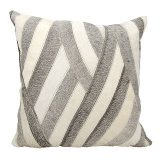 Mina Victory Natural Leather and Hide Wavy Stripes White/ Grey Throw Pillow by Nourison (20 x 20-inch)