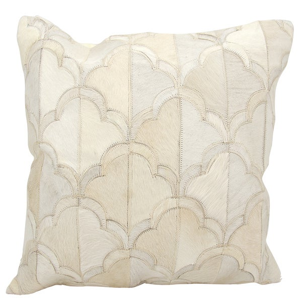 Mina Victory Natural Leather and Hide Cloud White Throw Pillow by Nourison (20-Inch X 20-Inch)