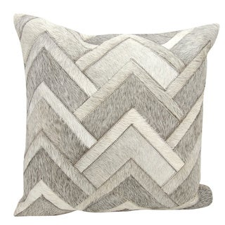 Mina Victory Natural Leather and Hide Arrowhead Chevron Grey Throw Pillow by Nourison (20 x 20-inch)