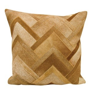 Mina Victory Natural Leather and Hide Arrowhead Chevron Amber Throw Pillow by Nourison (20 x 20-inch)