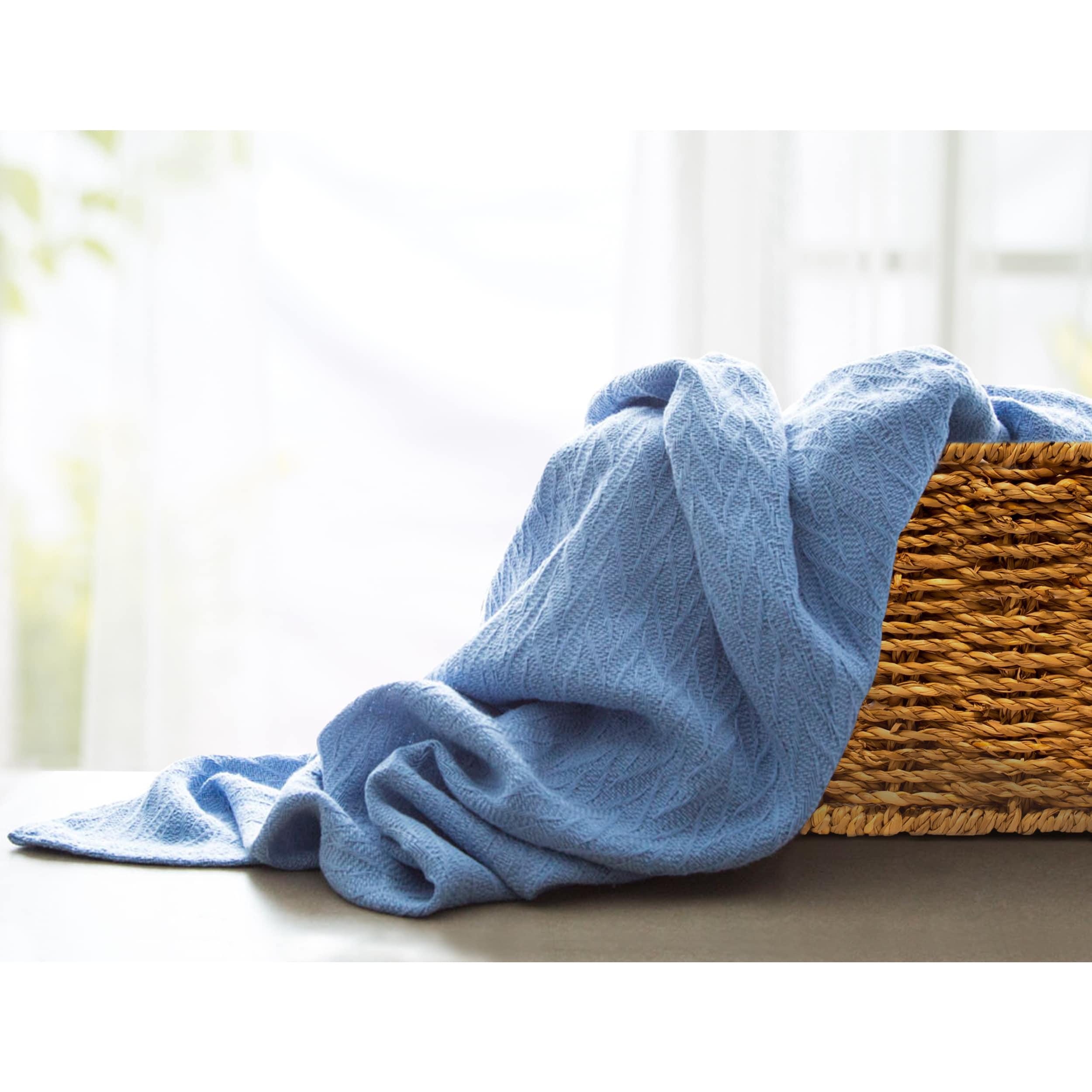 City Blue Cotton Queen Thermal Blanket (Dbl/Queen , blue ...