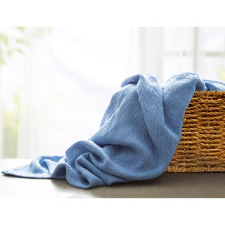 Blue Cotton Queen Thermal Blanket