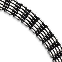 Versil Stainless Steel Black Rubber 8.5-inch Bracelet