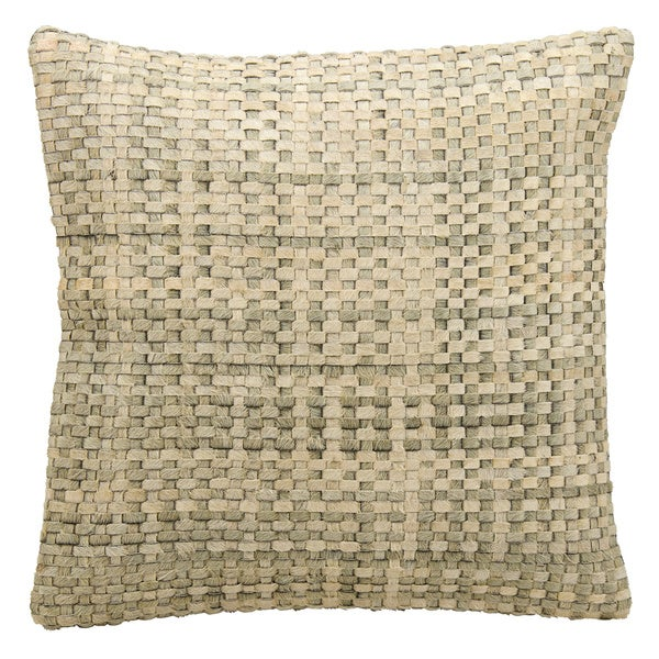 Mina Victory Natural Leather and Hide Basket Weave Silver/ White Throw Pillow by Nourison (20-Inch X 20-Inch)