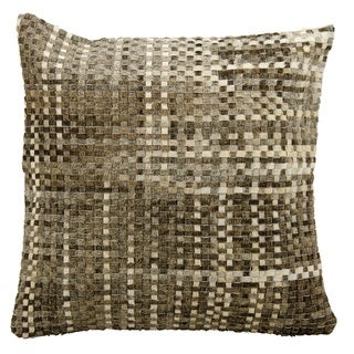 Mina Victory Natural Leather and Hide Basket Weave Grey Throw Pillow by Nourison (20 x 20-inch)