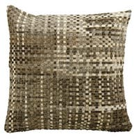 Mina Victory Natural Leather and Hide Basket Weave Grey Throw Pillow by Nourison (20-Inch X 20-Inch)