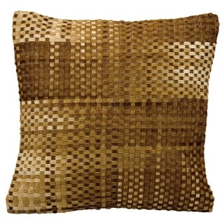 Mina Victory Natural Leather and Hide Basket Weave Amber Throw Pillow by Nourison (20 x 20-inch)
