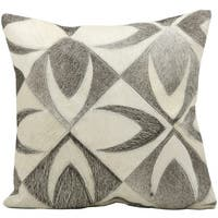 Mina Victory Natural Leather and Hide Bone Grey Throw Pillow by Nourison (18-Inch X 18-Inch)