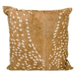 Mina Victory Natural Leather and Hide Axis Deer Print Brown Throw Pillow by Nourison (20-Inch X 20-Inch)