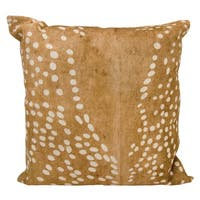 Mina Victory Natural Leather and Hide Axis Deer Print Brown Throw Pillow by Nourison (20 x 20-inch)