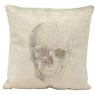 Mina Victory Natural Leather and Hide Laser Cut Skull Light Grey Throw Pillow by Nourison (20 x 20-inch)
