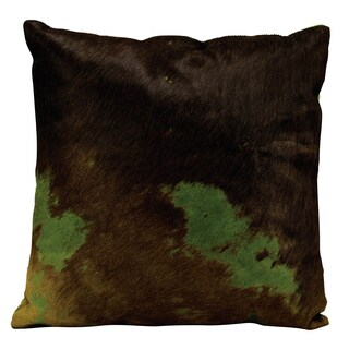 Mina Victory Natural Leather and Hide Two Tone Green Throw Pillow by Nourison (20 x 20-inch)