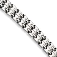 Versil Chisel White Polished Stainless Steel 8.5-inch Bracelet
