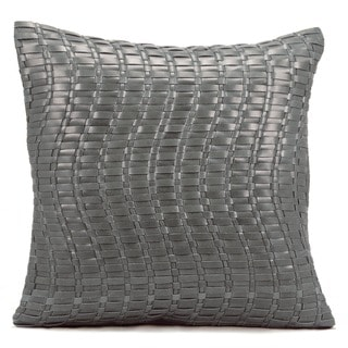 Mina Victory Natural Leather and Hide Wavy Basket Weave Silver/ Grey Throw Pillow by Nourison (20 x 20-inch)