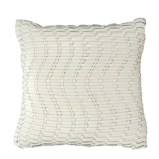 Mina Victory Natural Leather and Hide Wavy Basket Weave Ivory Throw Pillow by Nourison (20 x 20-inch)