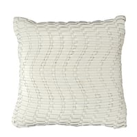 Mina Victory Natural Leather and Hide Wavy Basket Weave Ivory Throw Pillow by Nourison (20-Inch X 20-Inch)