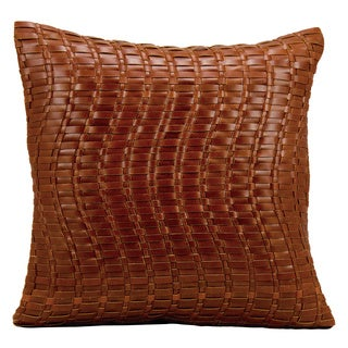 Mina Victory Natural Leather and Hide Wavy Basket Weave Cognac Throw Pillow by Nourison (20 x 20-inch)