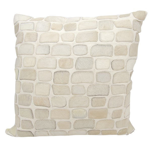 Mina Victory Natural Leather and Hide Pebbles White Throw Pillow by Nourison (20-Inch X 20-Inch)