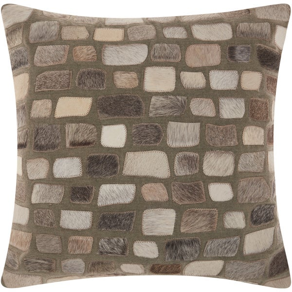 Mina Victory Natural Leather and Hide Pebbles Silver Throw Pillow by Nourison (20-Inch X 20-Inch)