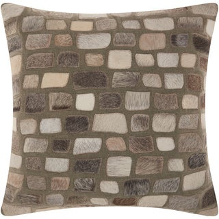 Mina Victory Natural Leather and Hide Pebbles Silver Throw Pillow by Nourison (20 x 20-inch)
