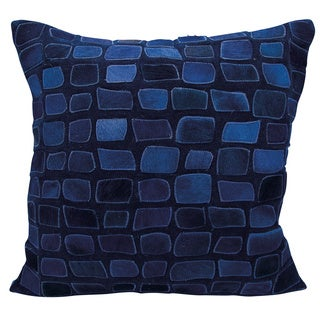 Mina Victory Natural Leather and Hide Pebbles Navy Throw Pillow by Nourison (20 x 20-inch)