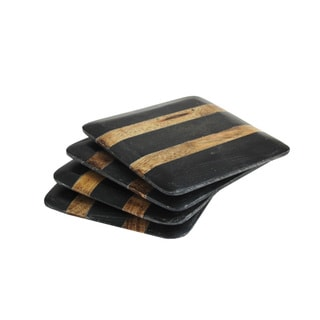 American Atelier Black Marble and Wood Stripe Coasters (Pack of 4)