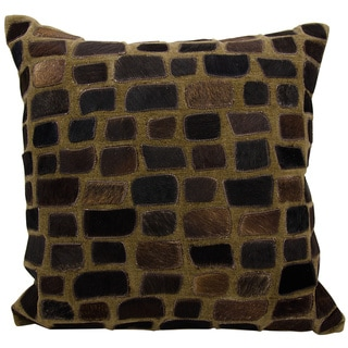 Mina Victory Natural Leather and Hide Pebbles Chocolate Throw Pillow by Nourison (20-Inch X 20-Inch)
