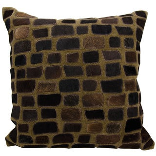 Mina Victory Natural Leather and Hide Pebbles Chocolate Throw Pillow by Nourison (20 x 20-inch)