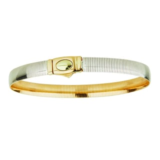 Decadence 14k Two-tone Gold 7.5-inch Reversible Omega Bracelet with Fancy Clasp