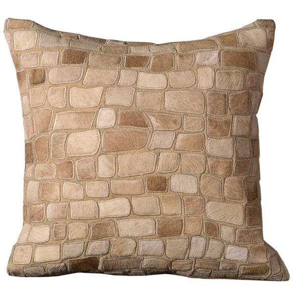 Mina Victory Natural Leather and Hide Pebbles Beige Throw Pillow by Nourison (20-Inch X 20-Inch)
