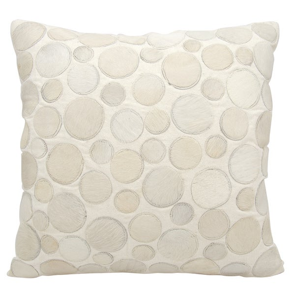 Mina Victory Natural Leather and Hide Circle White Throw Pillow by Nourison (20-Inch X 20-Inch)